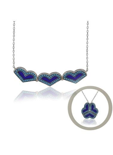 İkili Kalp Kolye-Söğütlü Silver